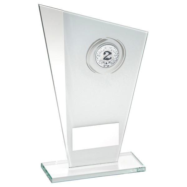 White/Silver Printed Glass Plaque With Wreath Trophy