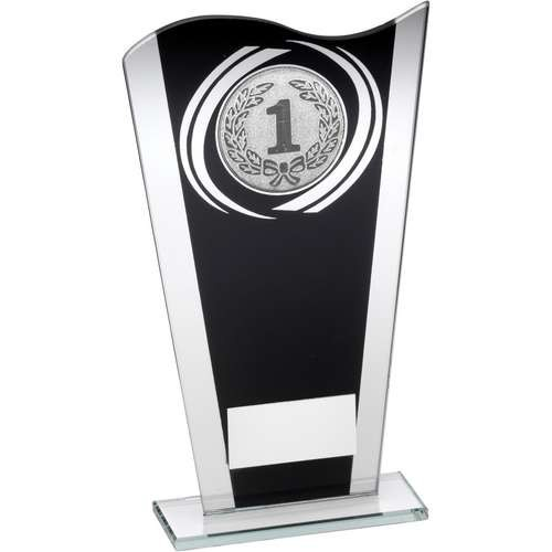 Black/Silver Printed Glass Plaque with Silver Generic Swirl Trophy
