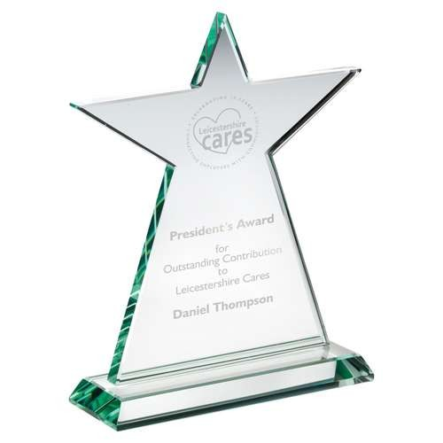 Jade Glass Tall Star Plaque