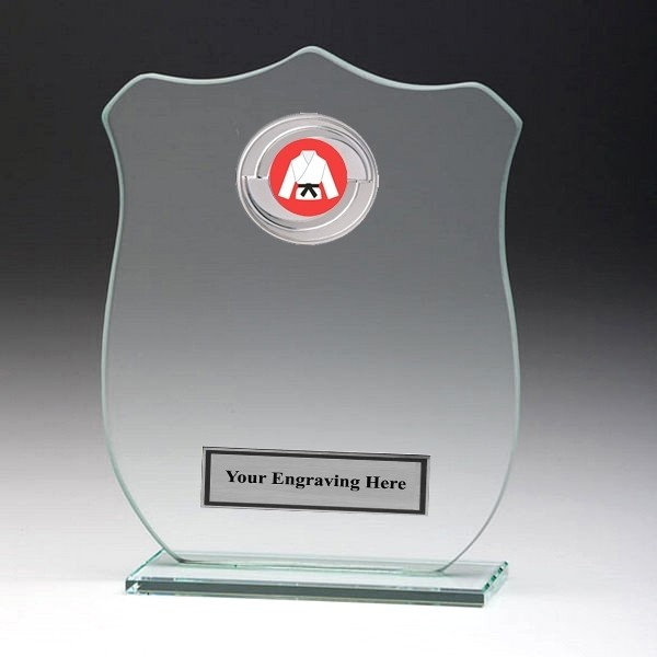 Jade Glass Shield Plaque with Martial Arts Insert