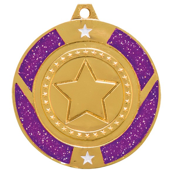 Glitter Star Medal - Purple