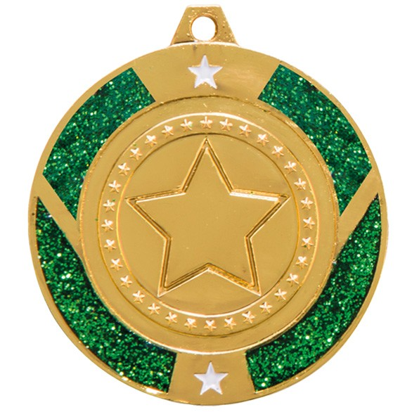 Glitter Star Medal - Green