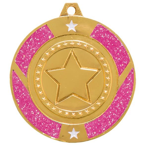 Glitter Star Medal - Pink