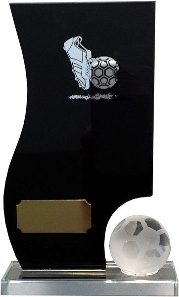 Black/Silver Glass Football Plaque & Ball Award