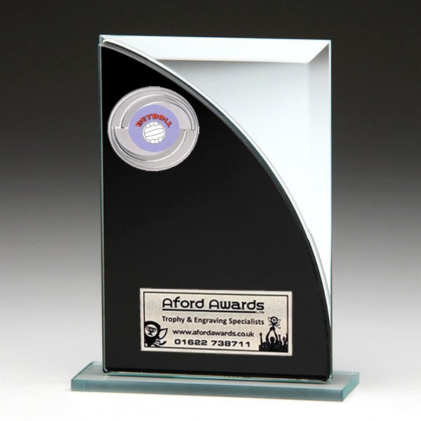 Black & Silver Glass Award with Netball Insert