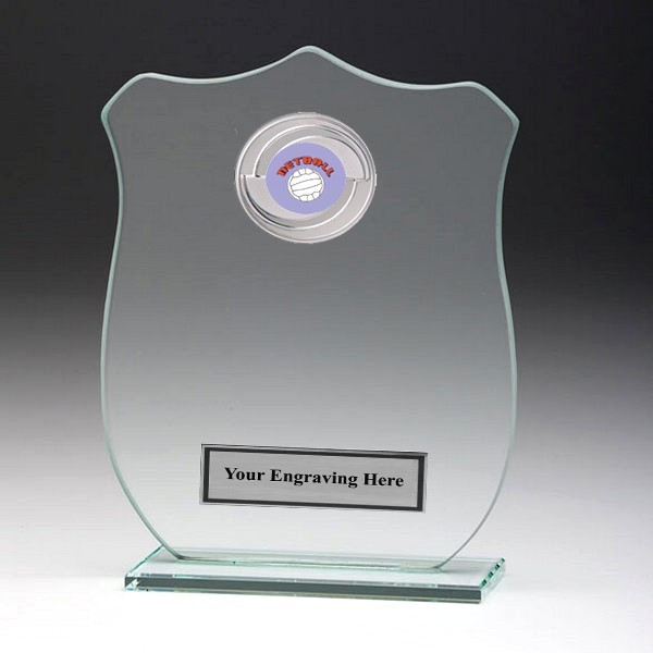 Jade Glass Shield Plaque with Netball Insert