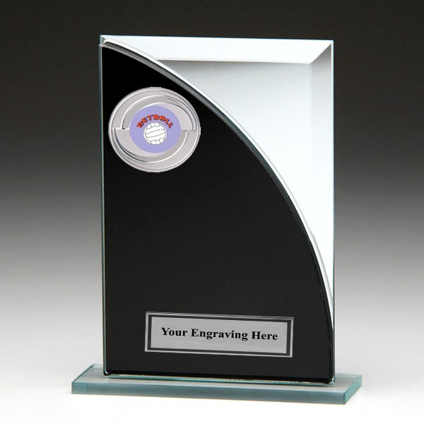 Black & Silver Glass Award with Netball Insert