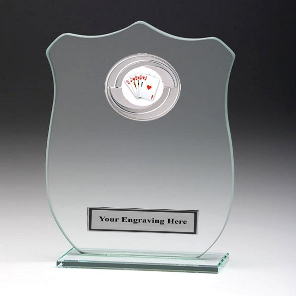 Jade Glass Shield Plaque with Poker Insert
