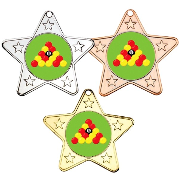 Pool Star Shaped Medals