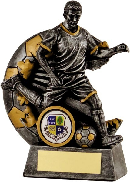 Gunmetal / Gold Male Footballer Trophy