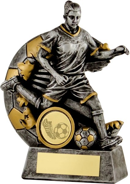 Gunmetal / Gold Female Footballer Trophy