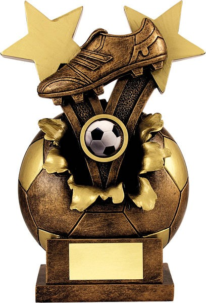 Gold and Bronze Exploding Football Boot Trophy