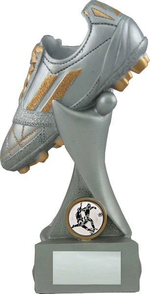 Resin Football Boot Silver Trophy