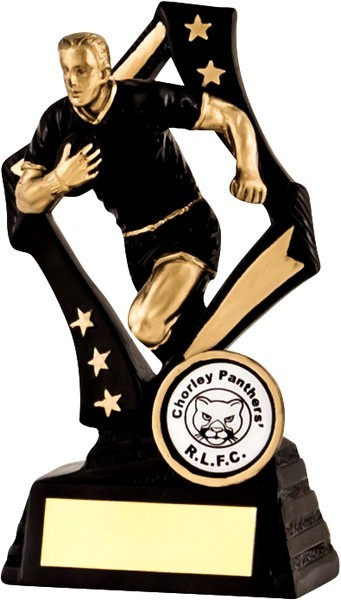 Black / Gold Rugby Star Trophy