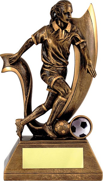 Bronze Female Football Trophy