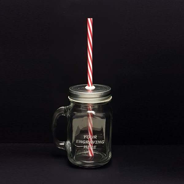 Rink Drink Jam Jar Drinking Glass with Lid/Straw 450ml