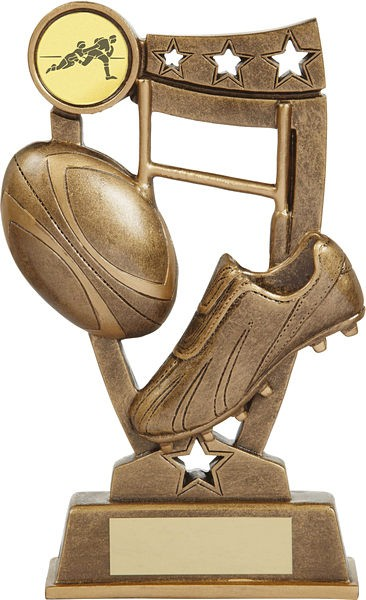 Bronze Rugby Ball and Boot Trophy