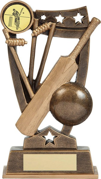 Bronze Cricket Bat and Ball Trophy