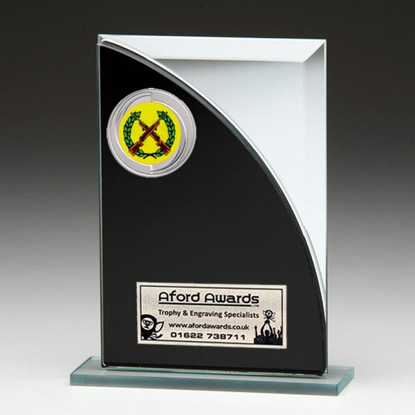 Black & Silver Glass Award with Shooting Insert