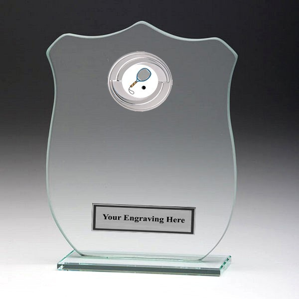 Jade Glass Shield Plaque with Squash Insert