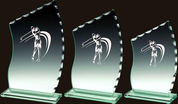 Female Glass Golf Trophy