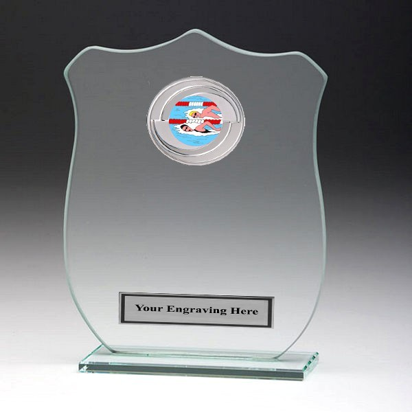 Jade Glass Shield Plaque with Swimming Insert
