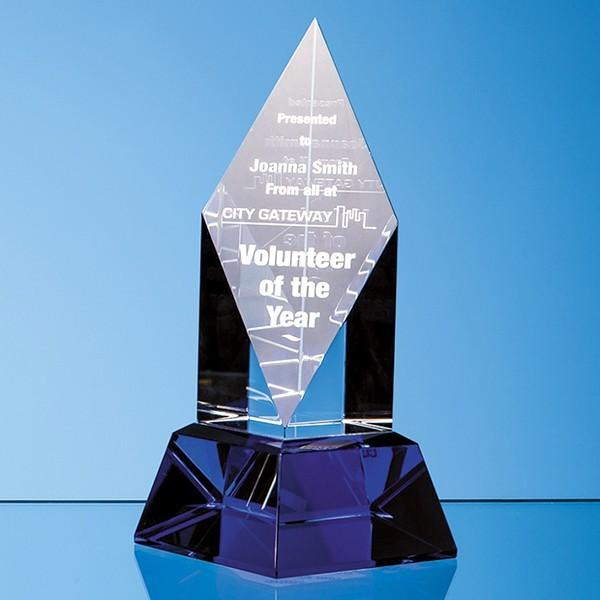 Clear Optical Crystal Diamond Mounted on a Cobalt Blue Base
