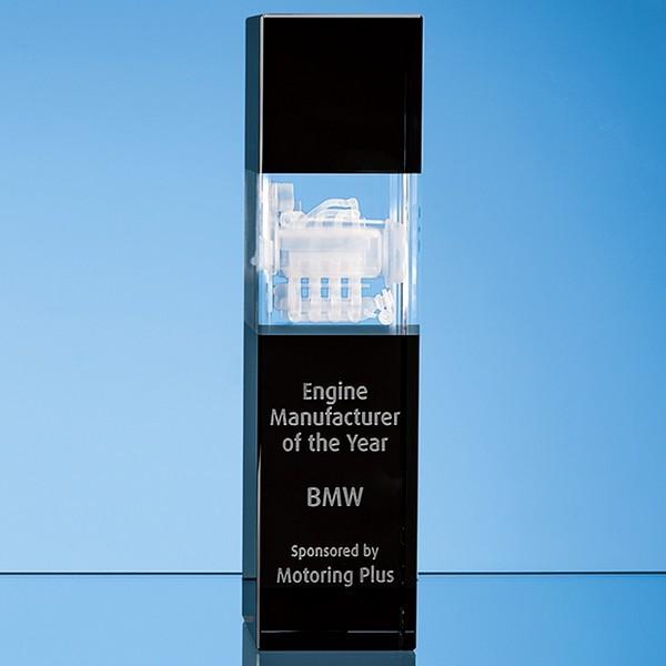 Clear & Onyx Black Optical Crystal Square Column Award