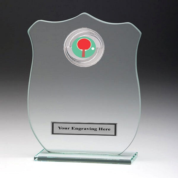 Jade Glass Shield Plaque with Table Tennis Insert