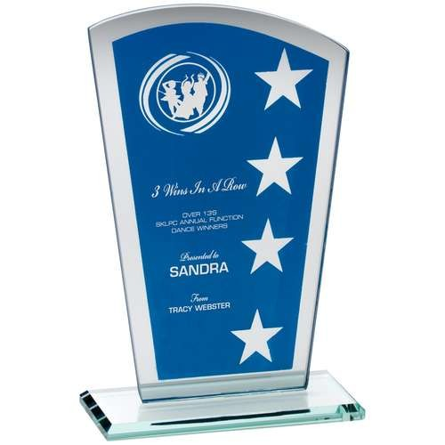 Blue/Silver Printed Glass Shield with Wreath/Star Design