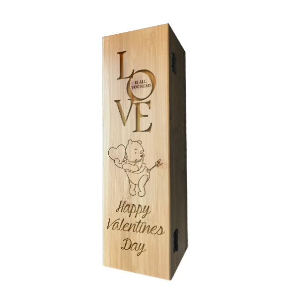 Valentine's Day Laser Engraved Wooden Wine Box with Tools
