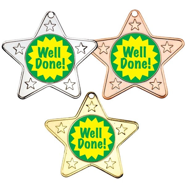 Well Done Star Shaped Medals