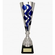 Silver and Blue Fluted Cup on Black Base