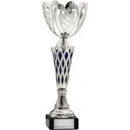 Silver Heart Cup with Blue Trim Trophy