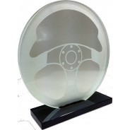 Clear Glass Steering Wheel Trophy