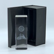 Football Crystal Block - Laser Engraved