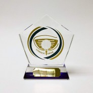 Longest Drive' Glass Award with Blue Tinted Base