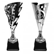 Silver Chequered Flag Fluted Cup with Drivers Helmet