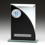 Black & Silver Glass Award with Athletics Insert
