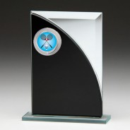 Black & Silver Glass Award with Badminton Insert