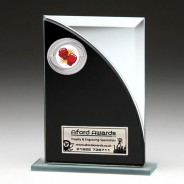 Black & Silver Glass Award with Boxing Insert
