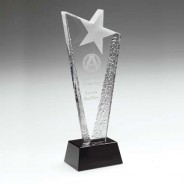 Clear Glass Plaque with Frosted Star on Black Base