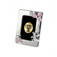Silver Plated Pink Enamelled Teddy Photo Frame