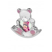 Silver Plated Pink Enamelled Rocking Teddy Photo Frame