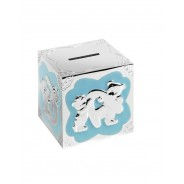 Silver Plated Blue Enamelled Teddy Pattern Cube Money Box
