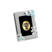 Silver Plated Blue Enamelled Teddy Photo Frame
