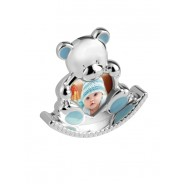 Silver Plated Blue Enamelled Rocking Teddy Photo Frame