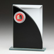 Black & Silver Glass Award with Chess Insert