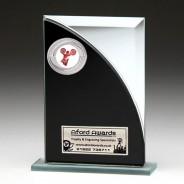 Black & Silver Glass Award with Cheerleading Insert