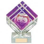 Victorious Lawn Bowls Cube Crystal Award